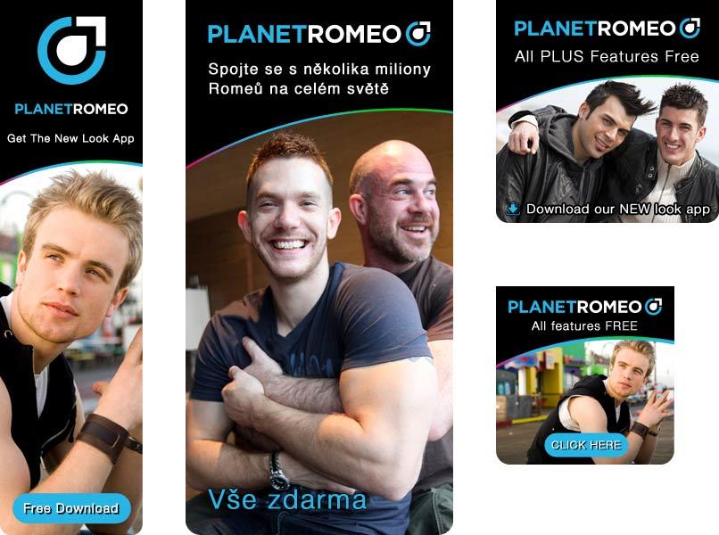Een klein deel van de door Studio Huis ontworpen banners en advertenties voor PlanetRomeo.