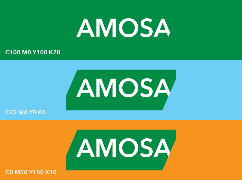 Amosa huisstijl, kleurstellingen